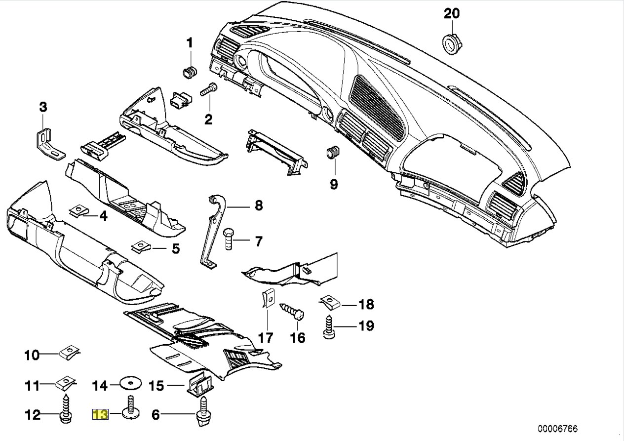 Bmw E38 E39 Dash Trim Torx Screw Bolt 3mm X 16mm