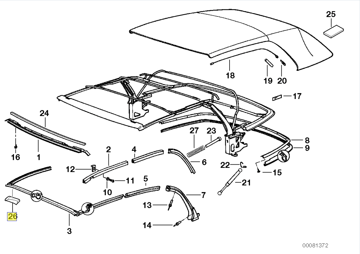Bmw Series 3 E36 Convertible Roof Seal Gasket