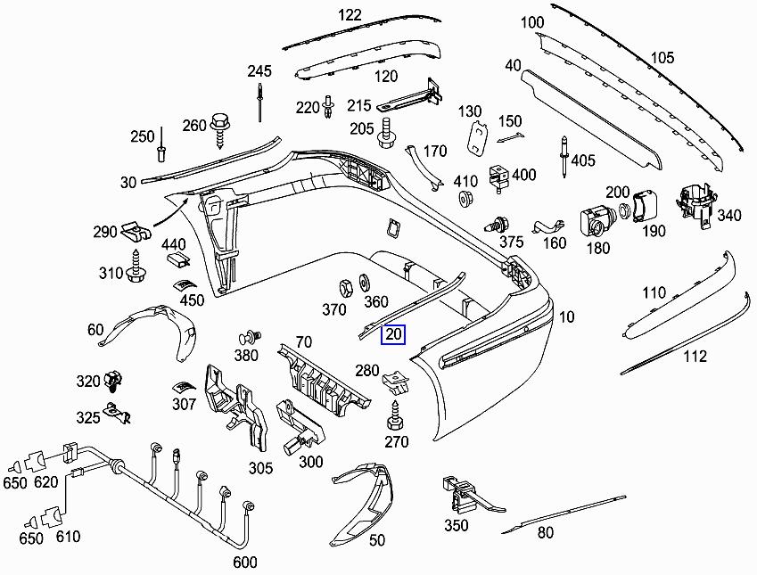 Mercedes W211 Hintere Stoßstange Montagehalterung