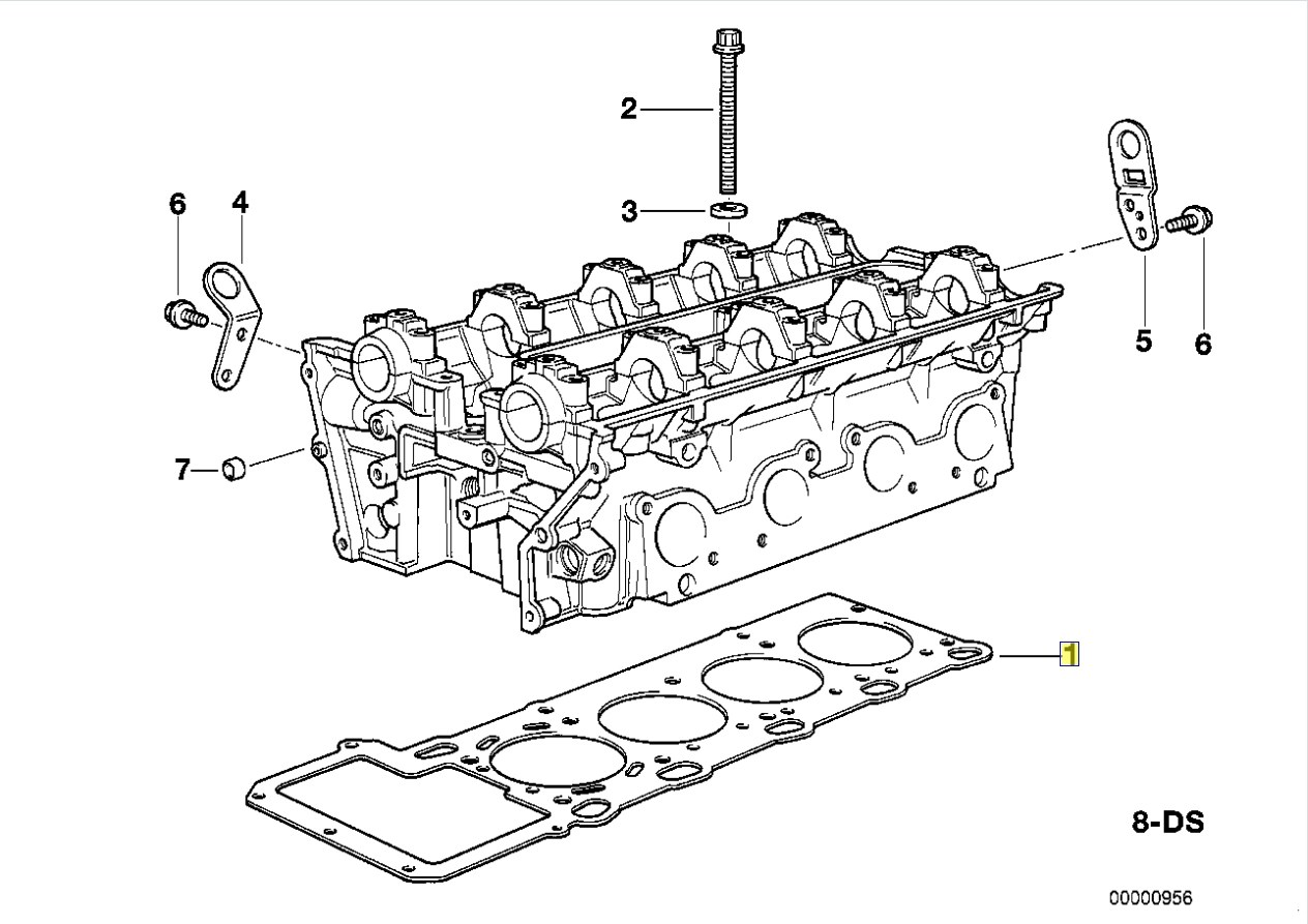 Bmw M60 B40 V8 Cylinder Head Gasket Right Bank