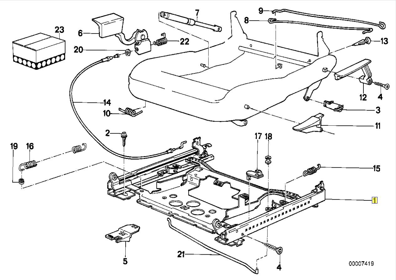 Bmw E34 Front Manual Seat Rail Bolt M8x21 5mm