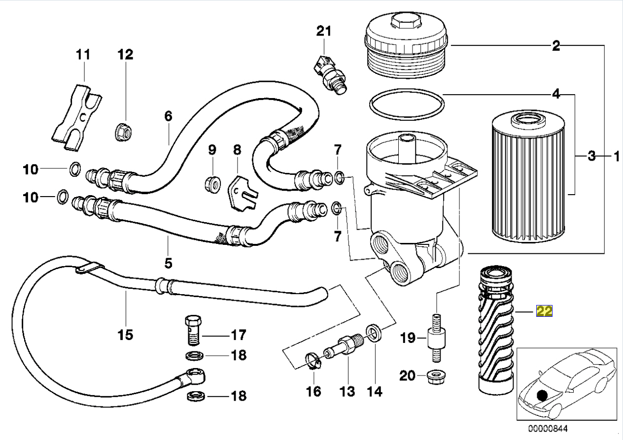 Bmw M60 V8 M70 M73 V12 Engine Oil Filter Tower