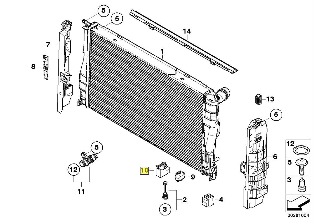 BMW Radiator Lower Mounting Support Bracket 7591647
