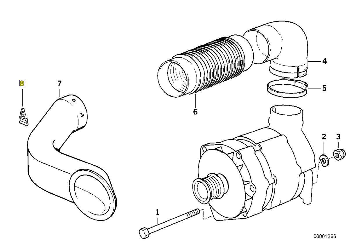 BMW E34 M50 Engine Alternator Cooling Duct Clip 1730061