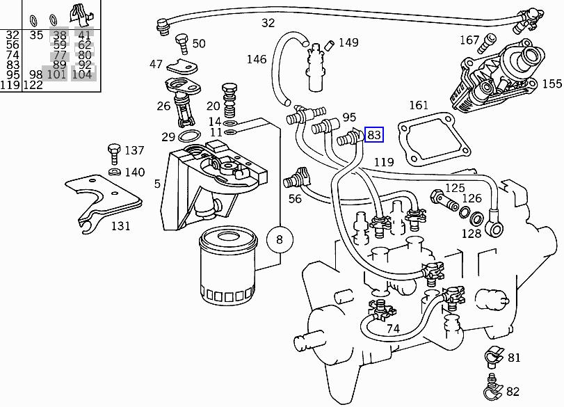 Mercedes OM606 Engine Diesel Fuel Filter Hose Pipe Line