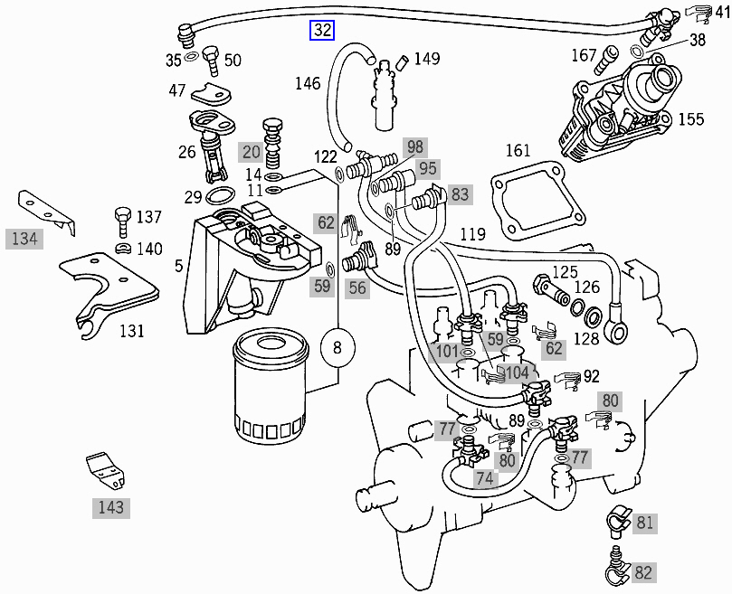 Mercedes OM605 OM606 Diesel Filtre à carburant tuyau pipe