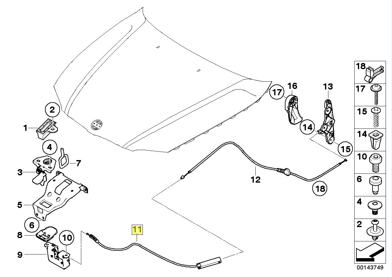 BMW E81 E82 E87 Motorhaube Hauben-entriegelung Kabel-Front