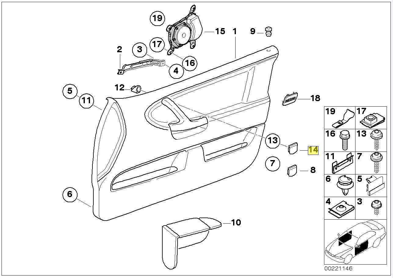 Bmw E36 Cabrio Turgriff Leiste Abdeckung Kappe
