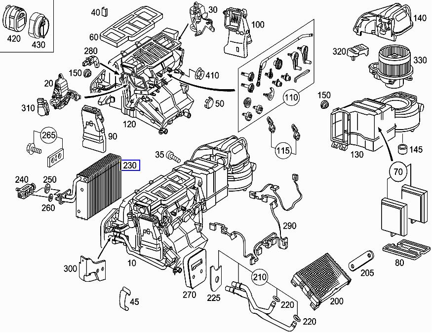 Mercedes W203 C209 Aircon AC Evaporator Matrix Radiator