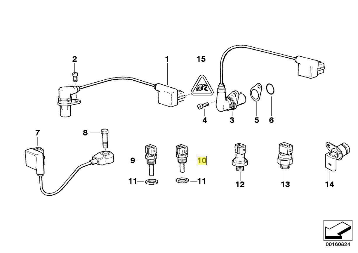 Bmw M21 M30 M60 V8 Motor Kuhlmittel Temperatursensor