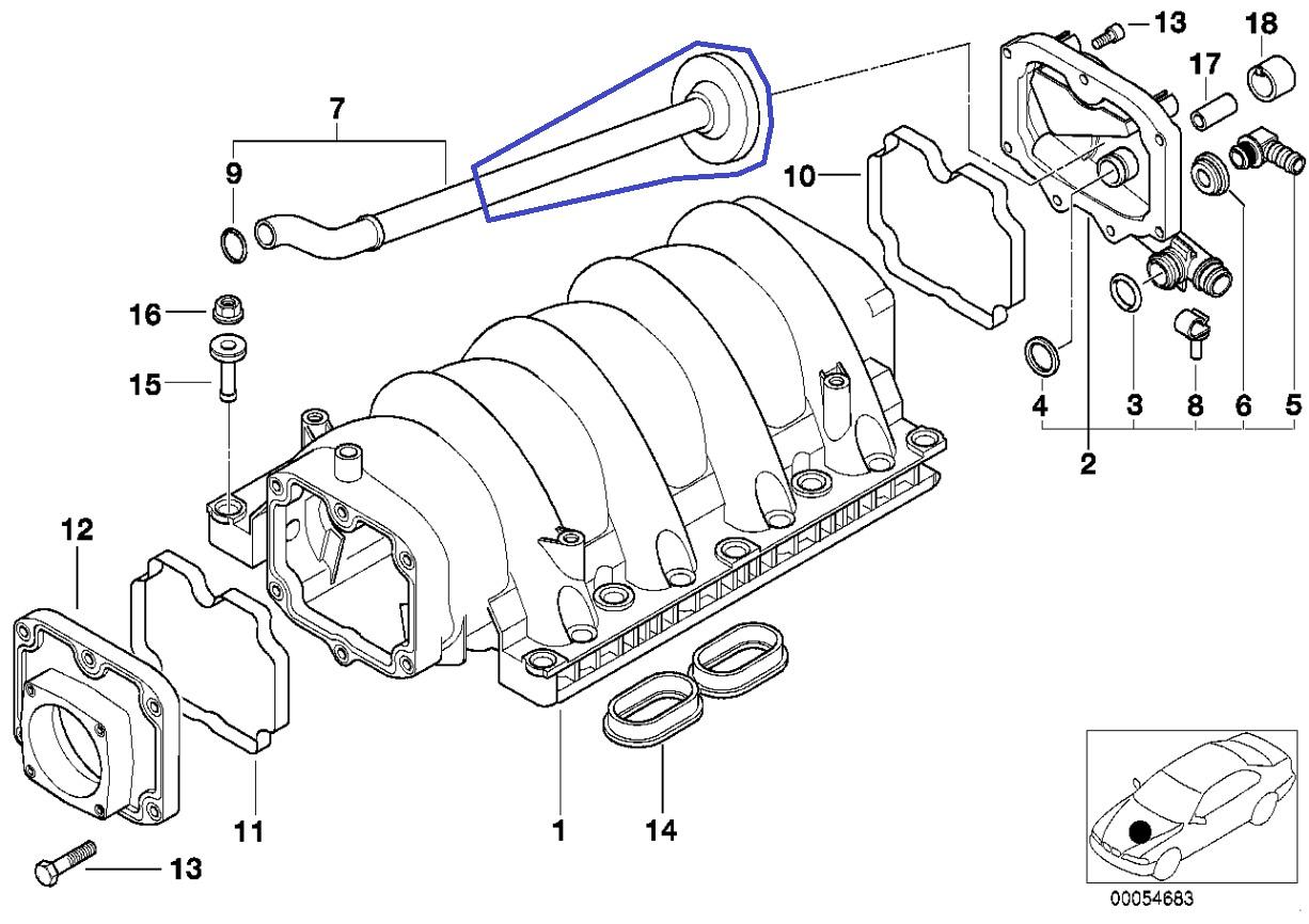 BMW M62 V8 Engine Intake Manifold PCV Vent Pipe 1742826