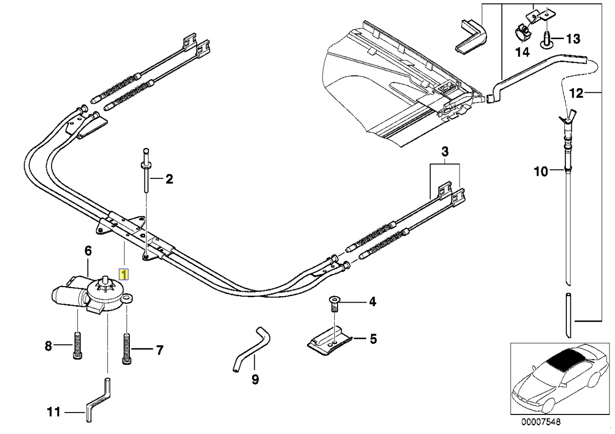 BMW E38 Schiebedach Ratsche Kabelführung Schlauch 8150128