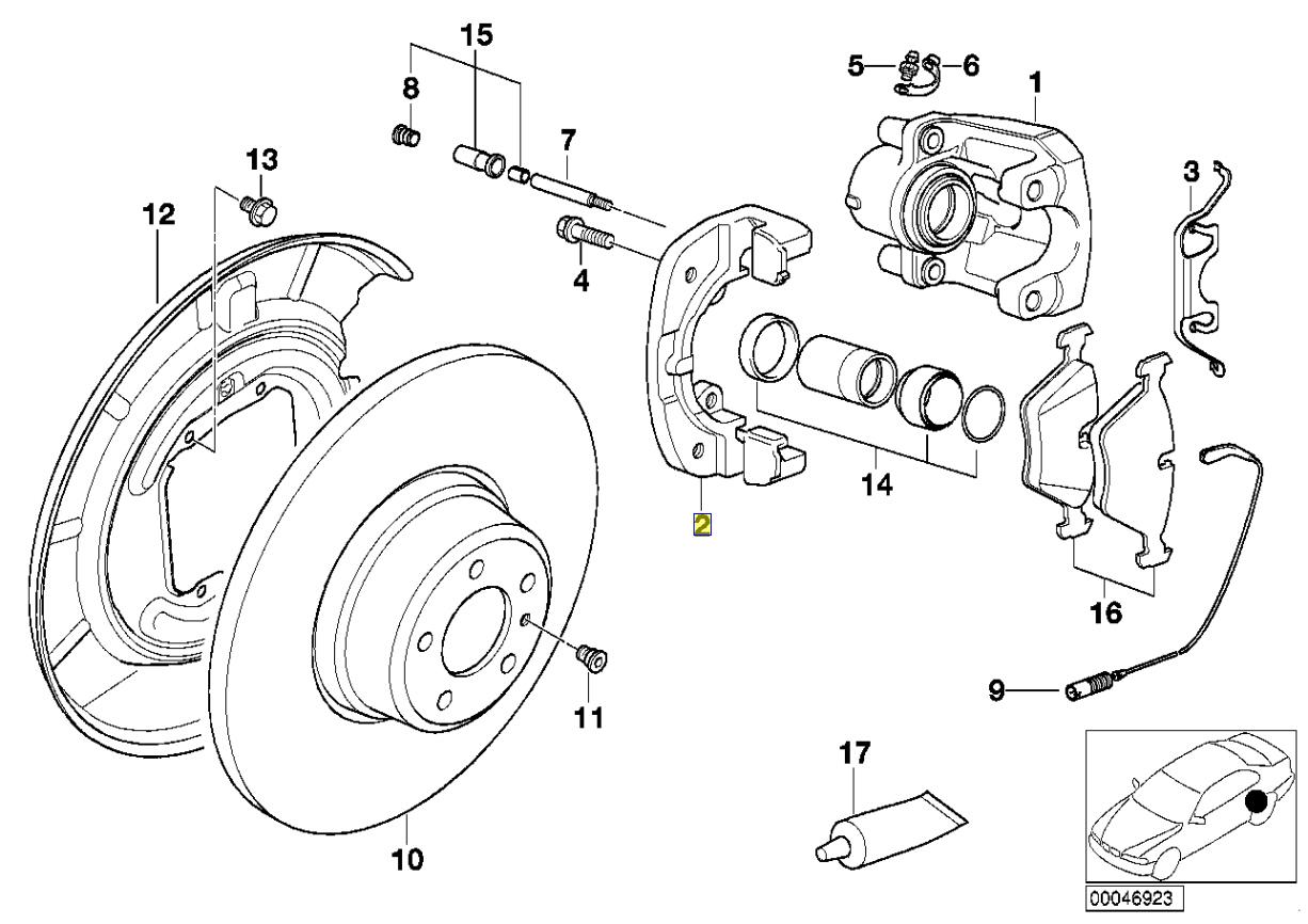 Bmw E38 E31 Rear Brake Caliper Carrier Bracket