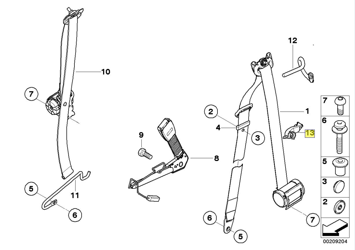 BMW MINI R57 Droit Ceinture de Sécurité Guide Support Clip