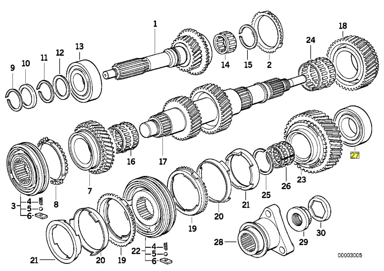 BMW S5D 250G Getrag Type B Output Shaft Bearing 1222260