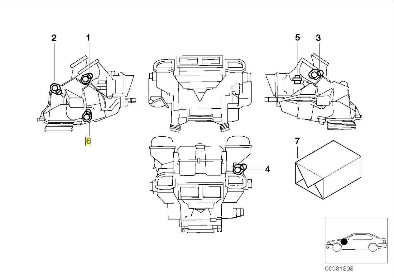 Bmw E39 Rear Air Vent Flap Servo Motor Actuator