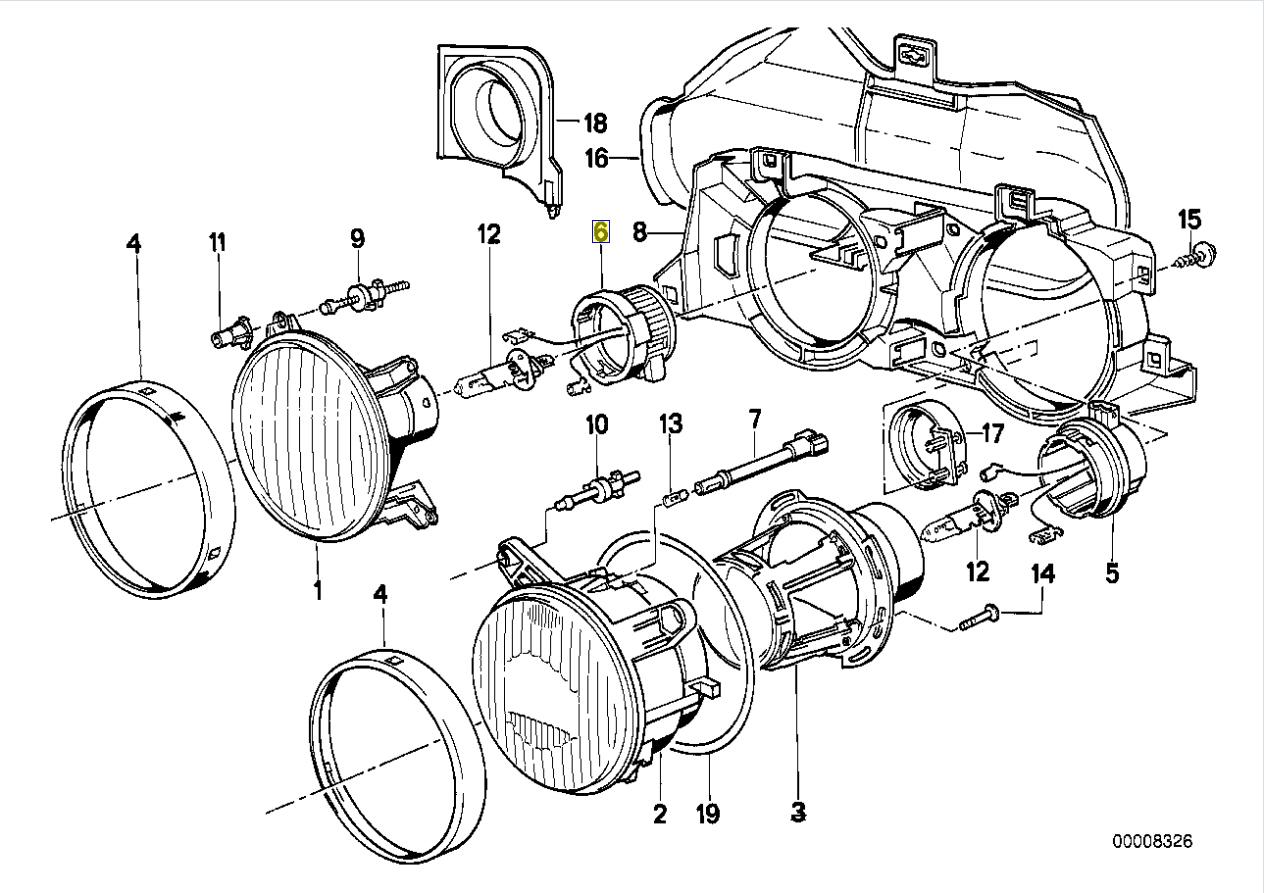 BMW E30 E24 E36 Ampoule Lampe Tête Boitier Bouchon 8357401