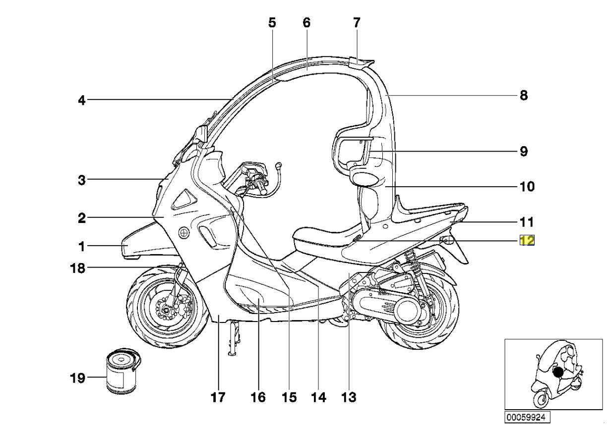 BMW C1 Motorrad Seat Links Leiste Abdeckung Gummi Dichtung