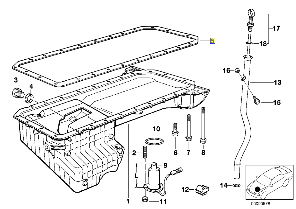 Bmw M51 Engine Oil Sump Pan Gasket Seal Metal