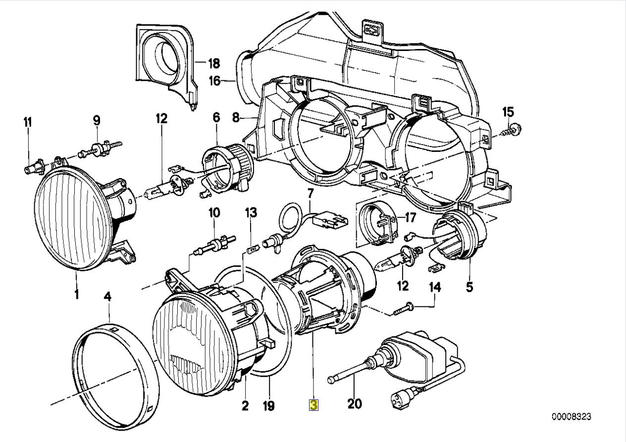 Bmw E30 E24 E34 E32 Head Light Lamp Reflector Hella 136 262 00 1