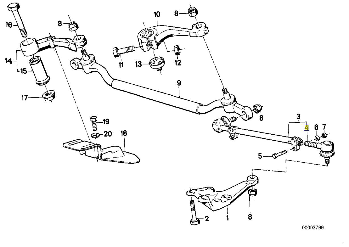 BMW E28 E24 E32 E34 E31 Tie Track Rod End Joint 1135820
