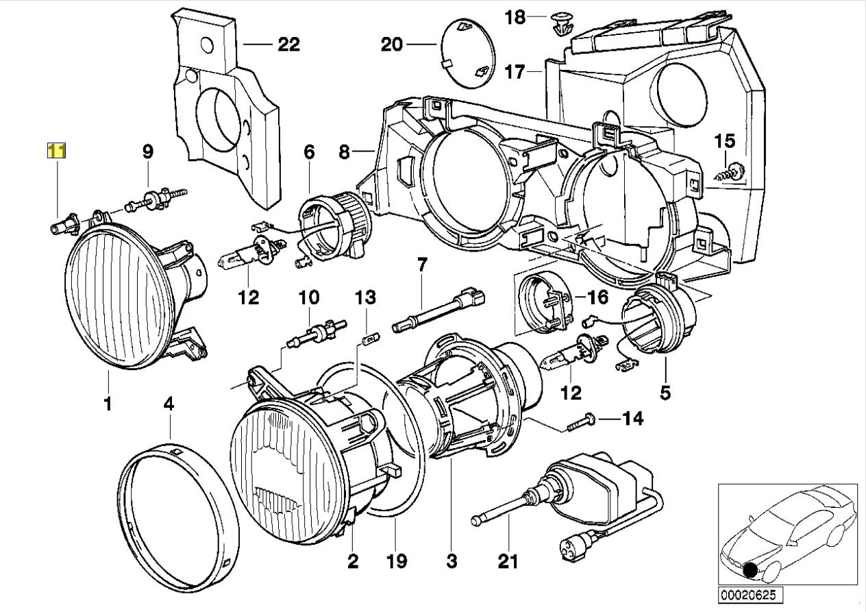 BMW E24 E30 E34 E32 Head Light Adjuster Bush 1386616