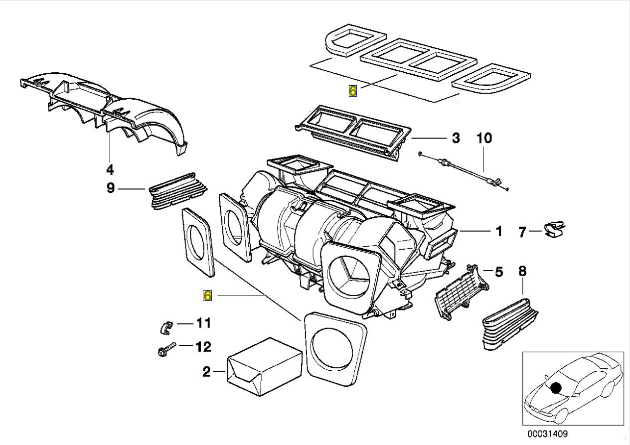 Bmw E39 Hvac A C Unit Air Vent Duct Seal Gasket