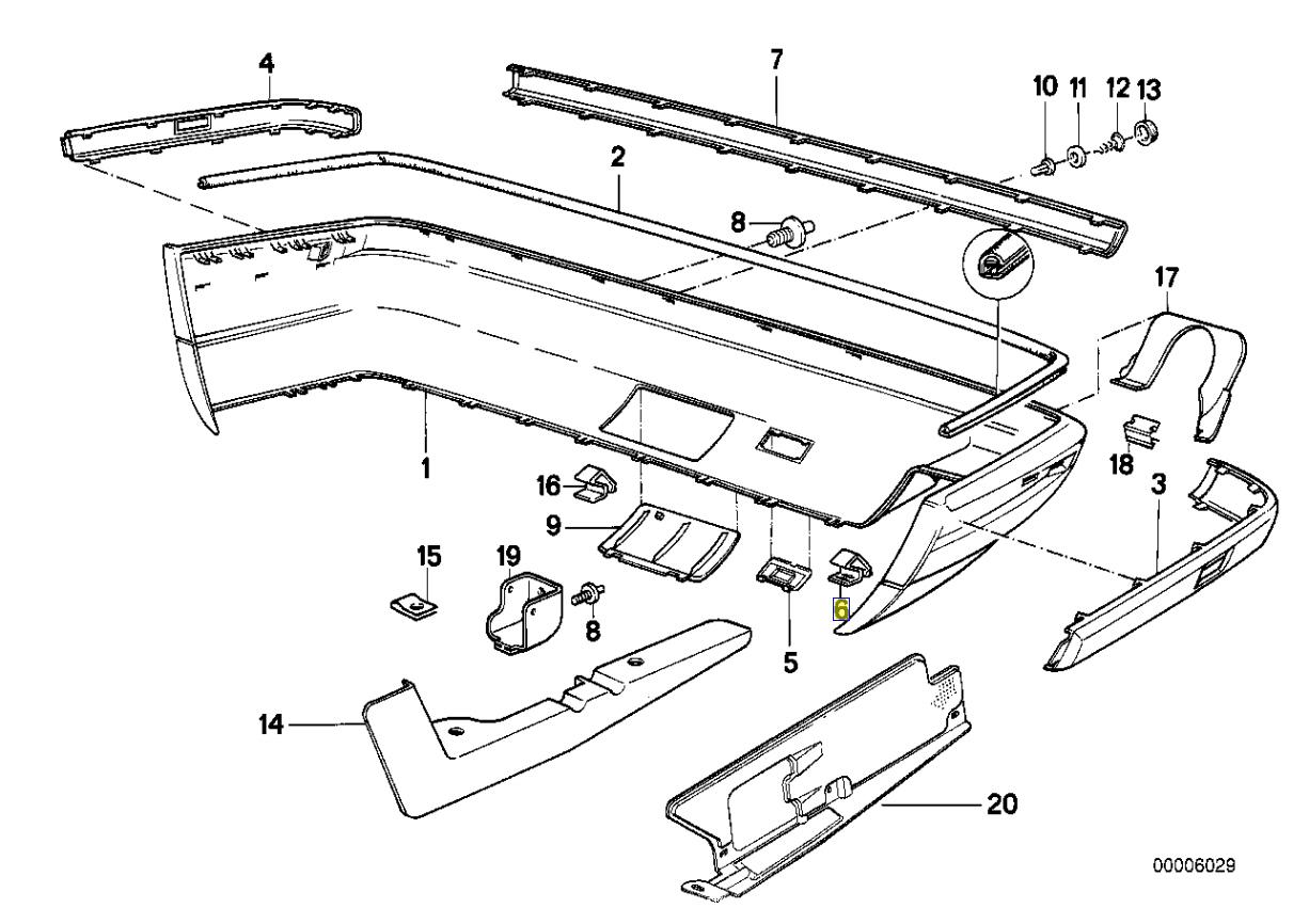 Bmw E30 E28 E34 E24 E31 E36 Couverture Pare Choc Clip