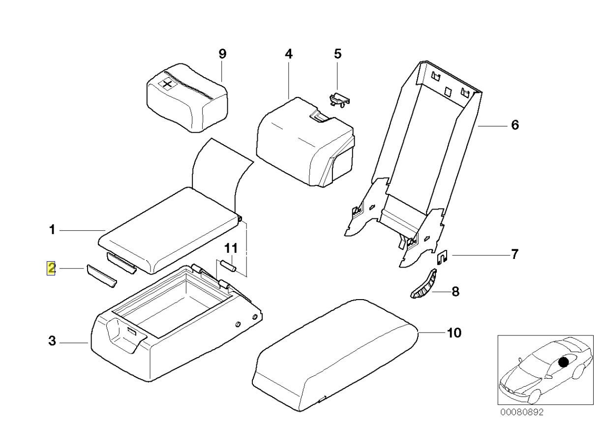 Bmw E38 E39 Rear Armrest Handle Cover Trim Cap
