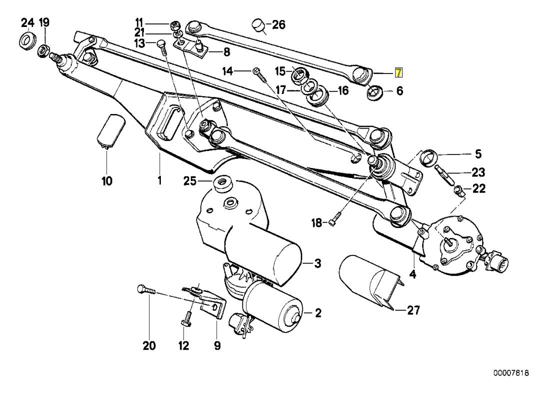 BMW E34 Windscreen Wiper Arm Linkage Rod Bar RHD 1384139