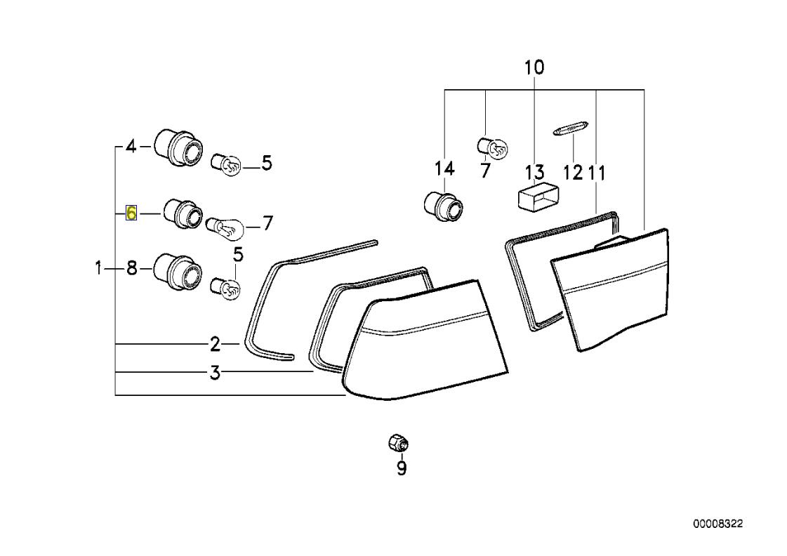 Bmw E31 E34 Rear Tail Light Bulb Holder Socket