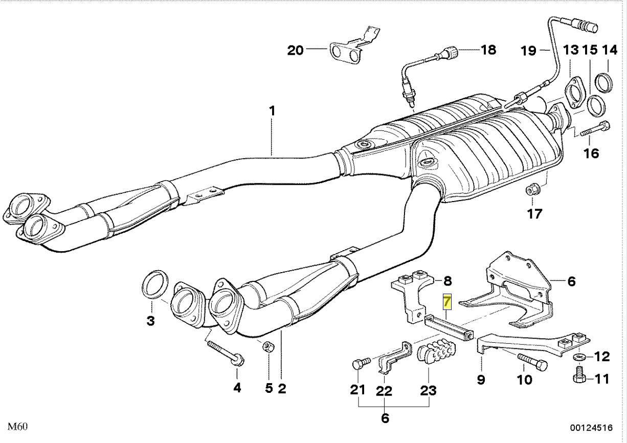 Bmw E34 E32 V8 Exhaust Mount Bracket Spacer Rod