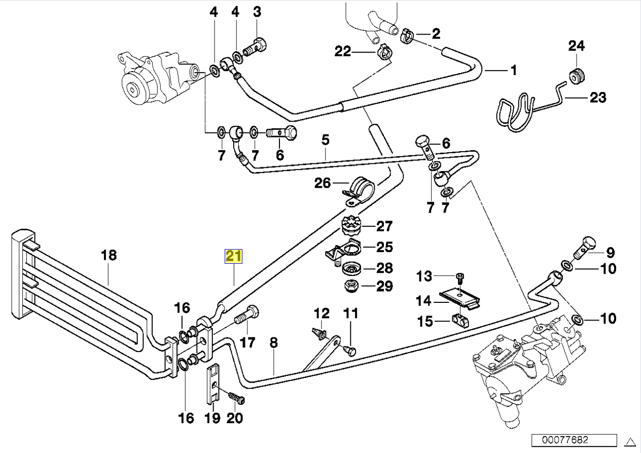 Bmw E39 E38 Power Steering Oil Hose Pipe Line