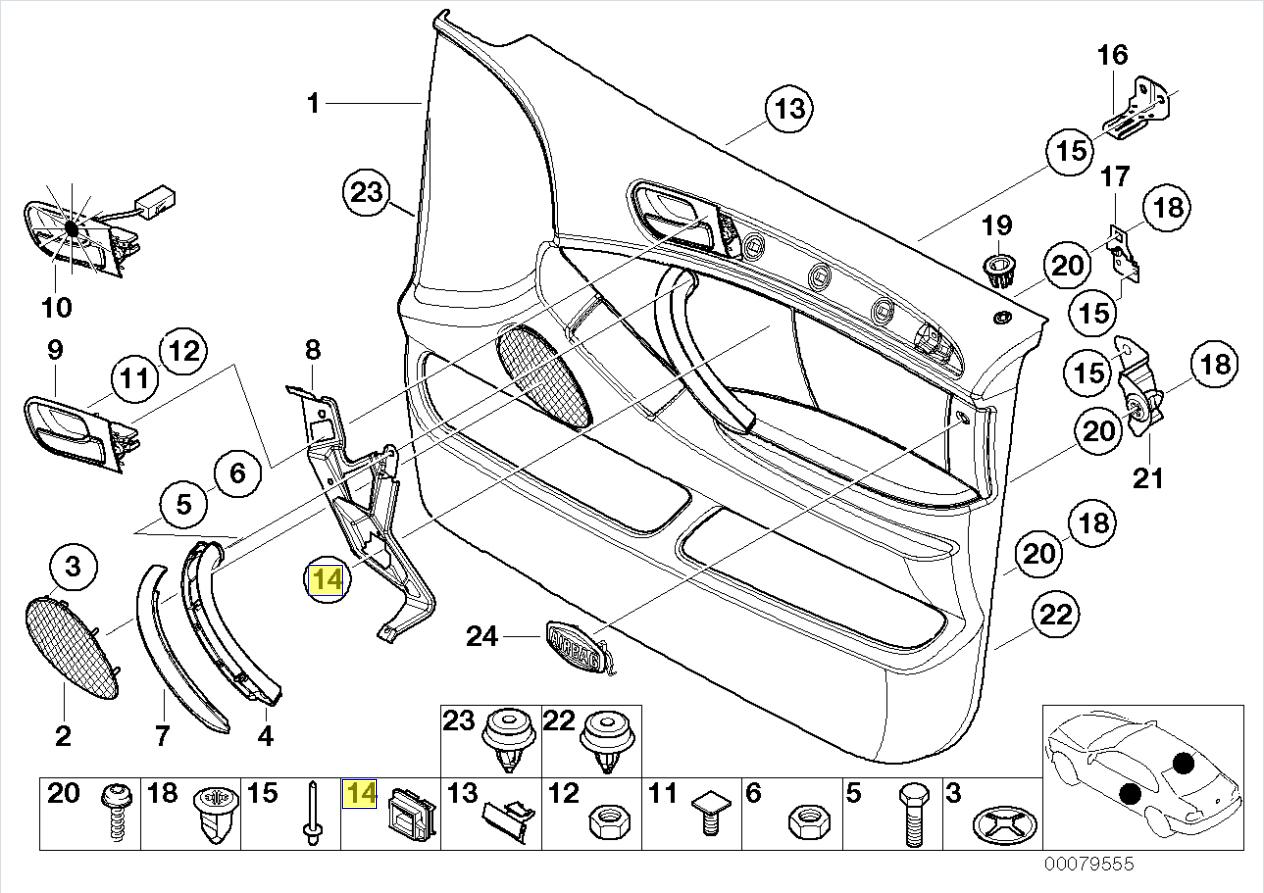 BMW E39 E60 E61 E38 E53 Door Card Handle Clip 8156532