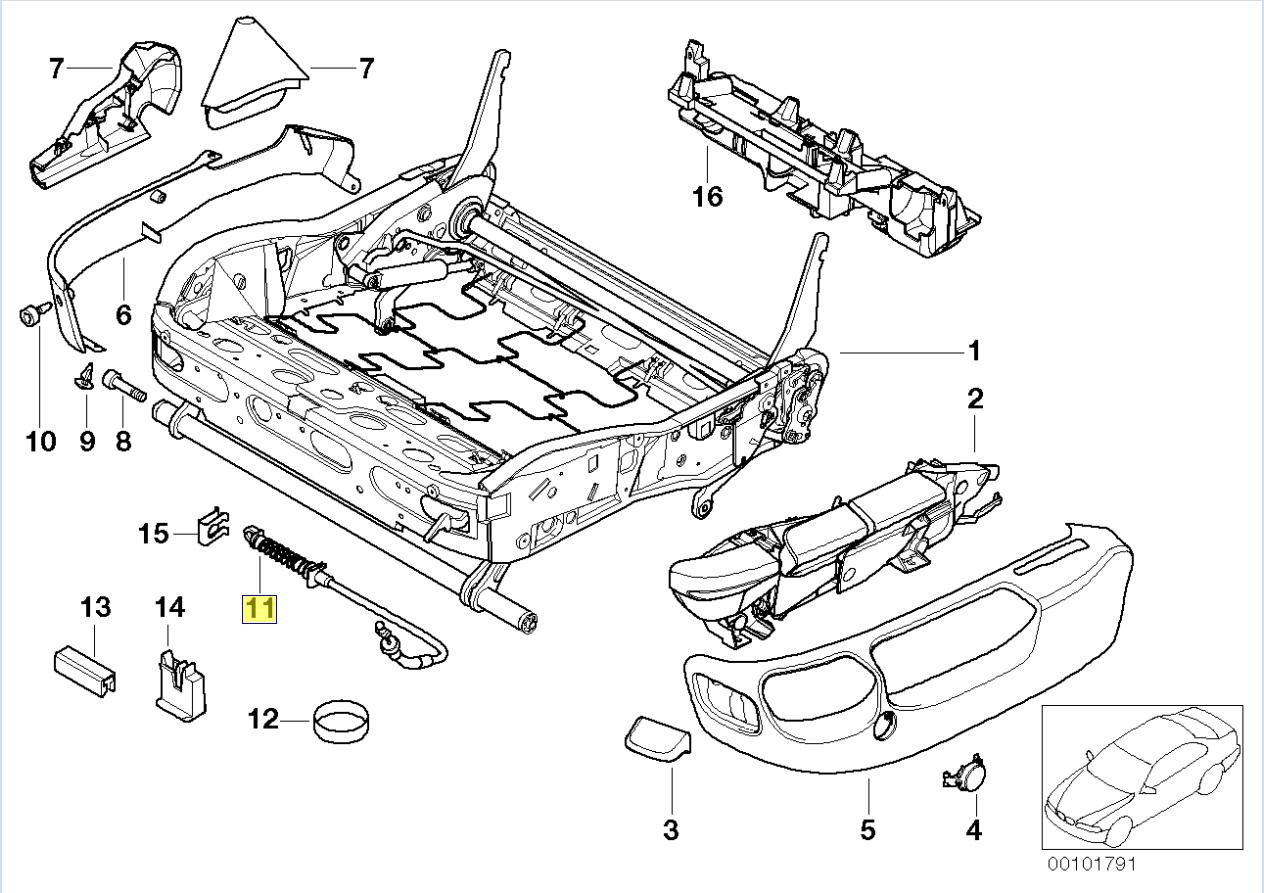 Bmw E39 E38 Seat Adjuster Lever Control Cable
