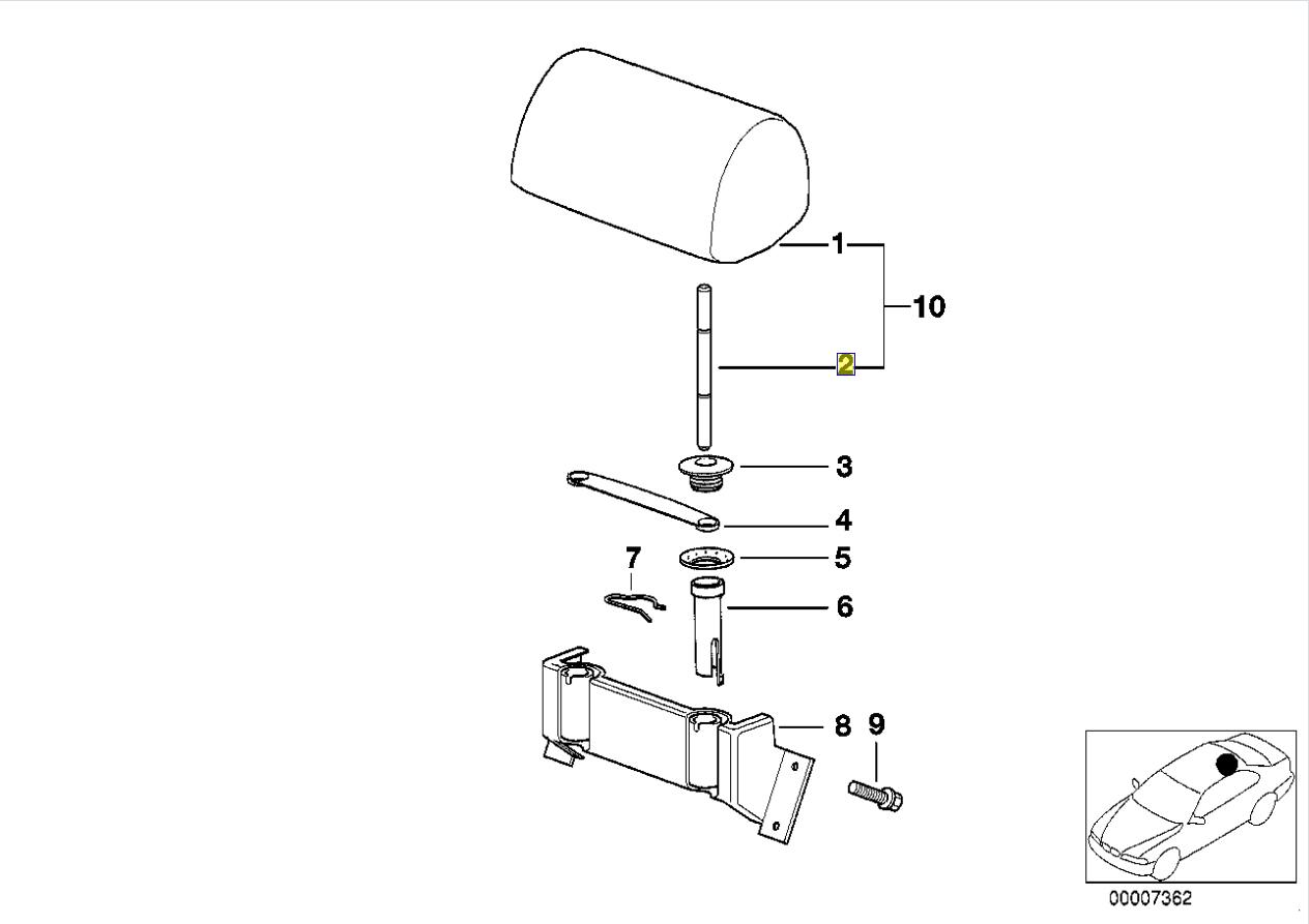 Bmw E36 E39 Rear Seat Headrest Guide Post Right