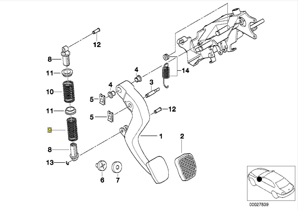 Bmw E36 E38 E39 Clutch Pedal Return Coil Spring
