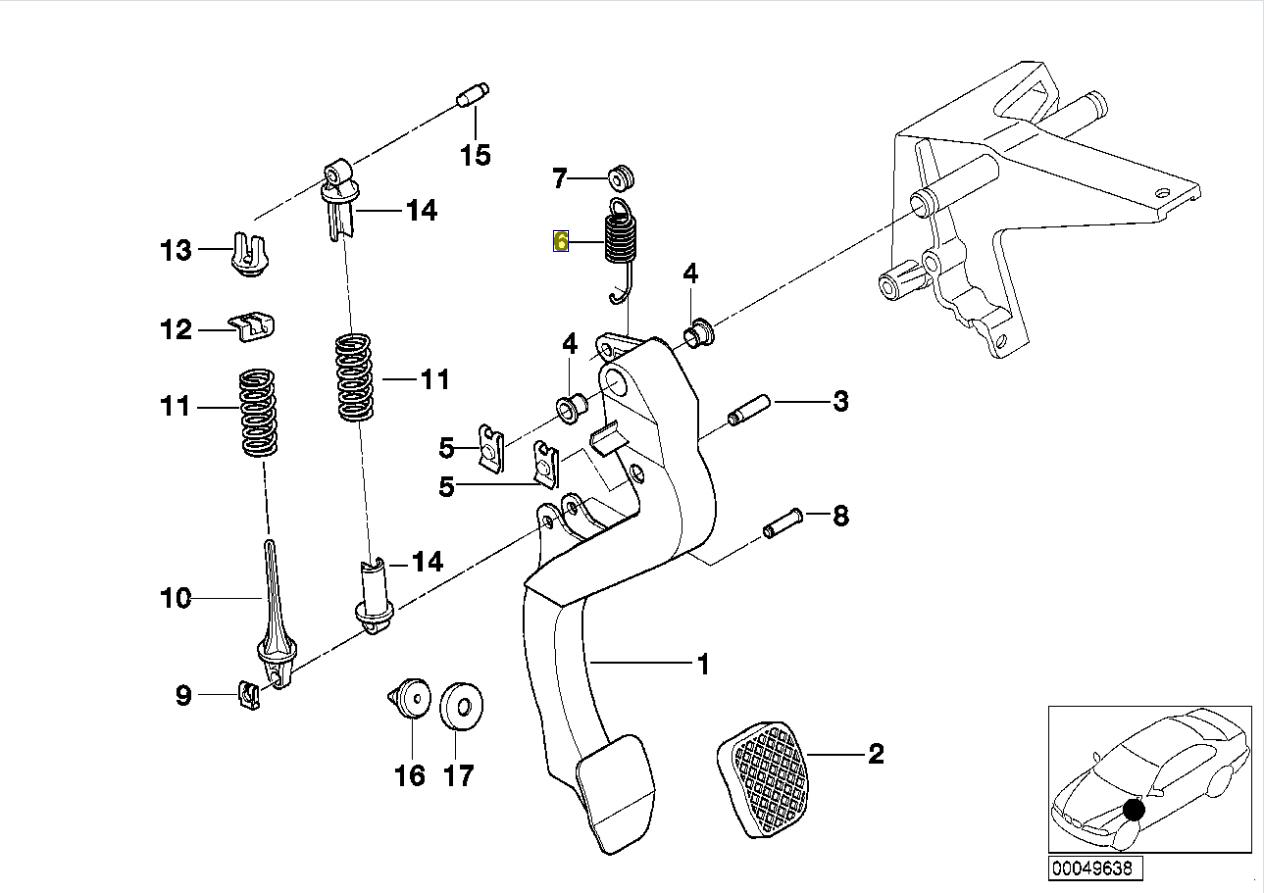 BMW E36 Z3 Brake Clutch Pedal Return Coil Spring 1158489