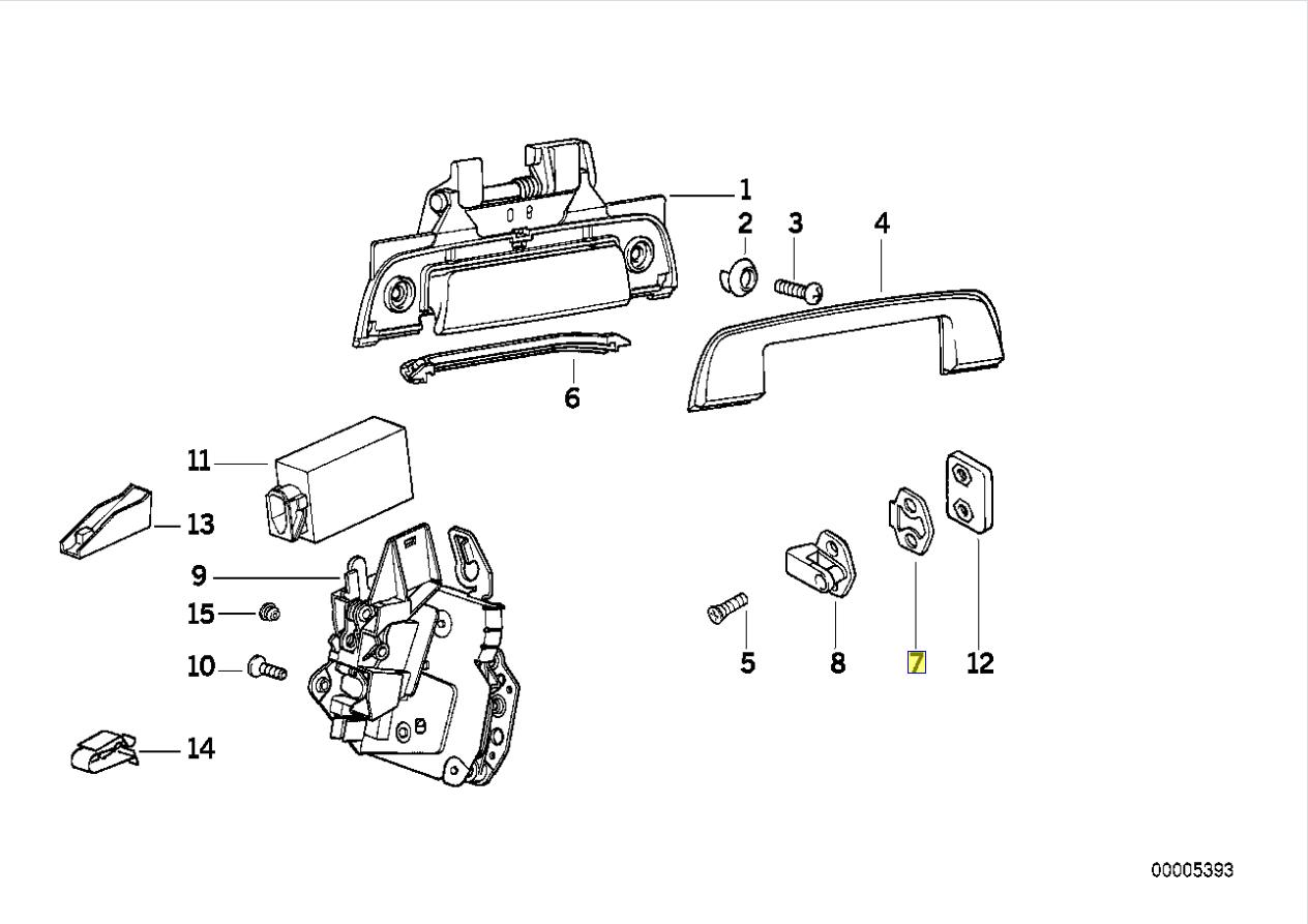 Bmw E36 Turschloss Striker Platte Dichtring Dichtung