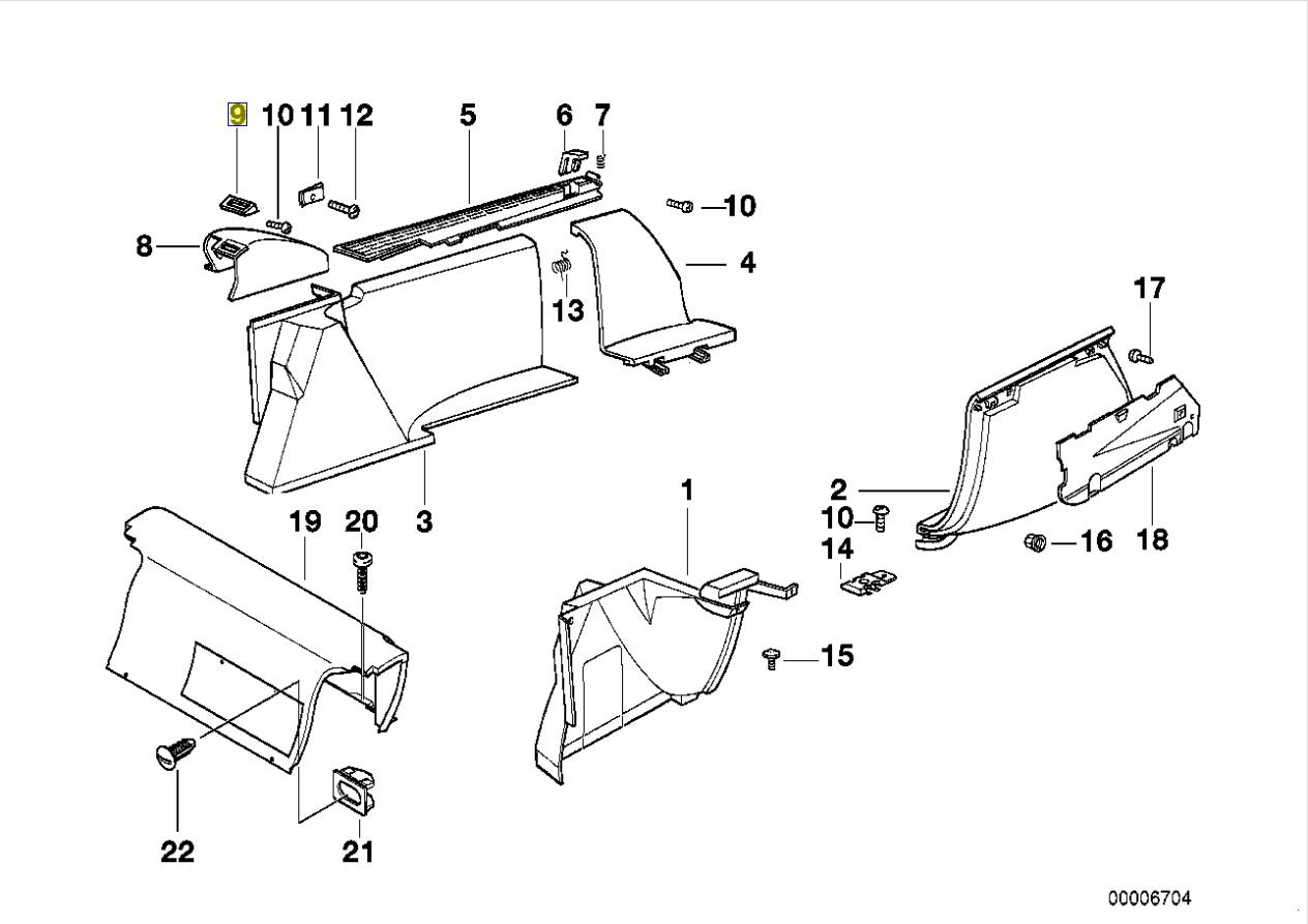 BMW E34 Touring RL Seat Belt Trim Guide Cover 8149015
