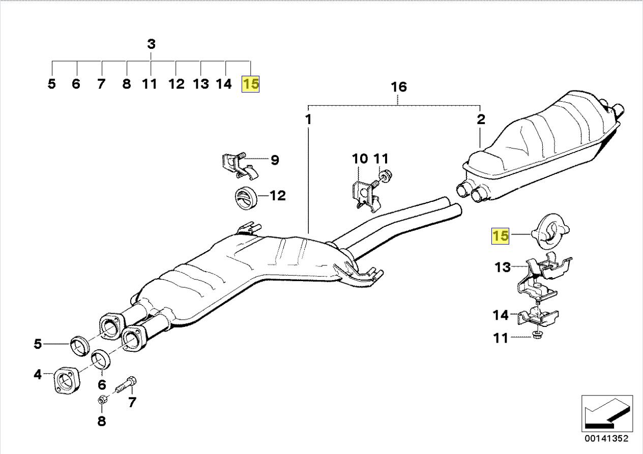 BMW E30 E12 E28 E34 E24 E23 E32 Exhaust Hanger 1712838