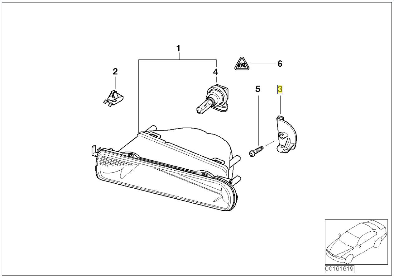 Bmw E46 Compact Left Fog Light Pivot Bracket