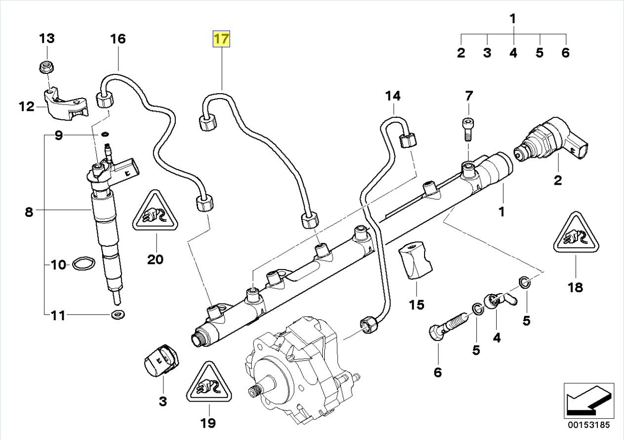 Bmw M57n2 Engine Fuel Injector Rail Pipe Line
