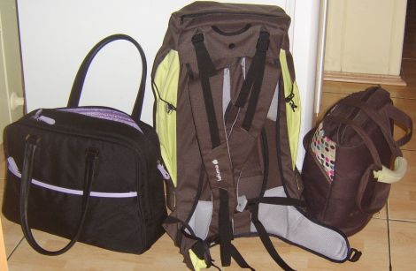 Computer bag, Hiking bag, and Lunch bag ready for our trip!