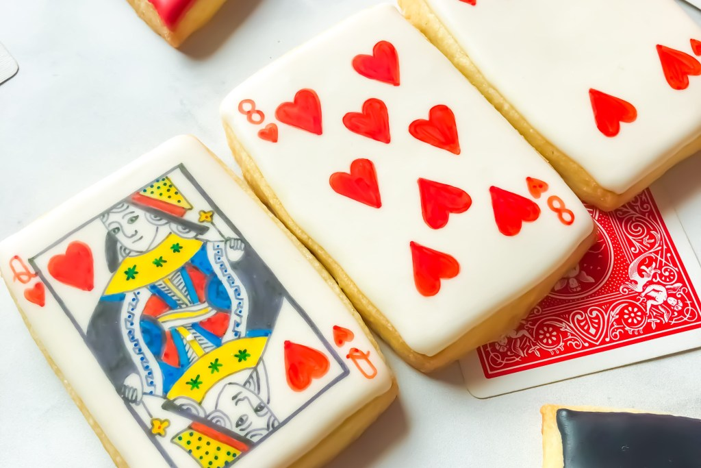 Cookies decorated like playing cards
