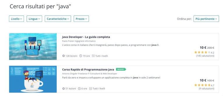 Udemy corsi Java