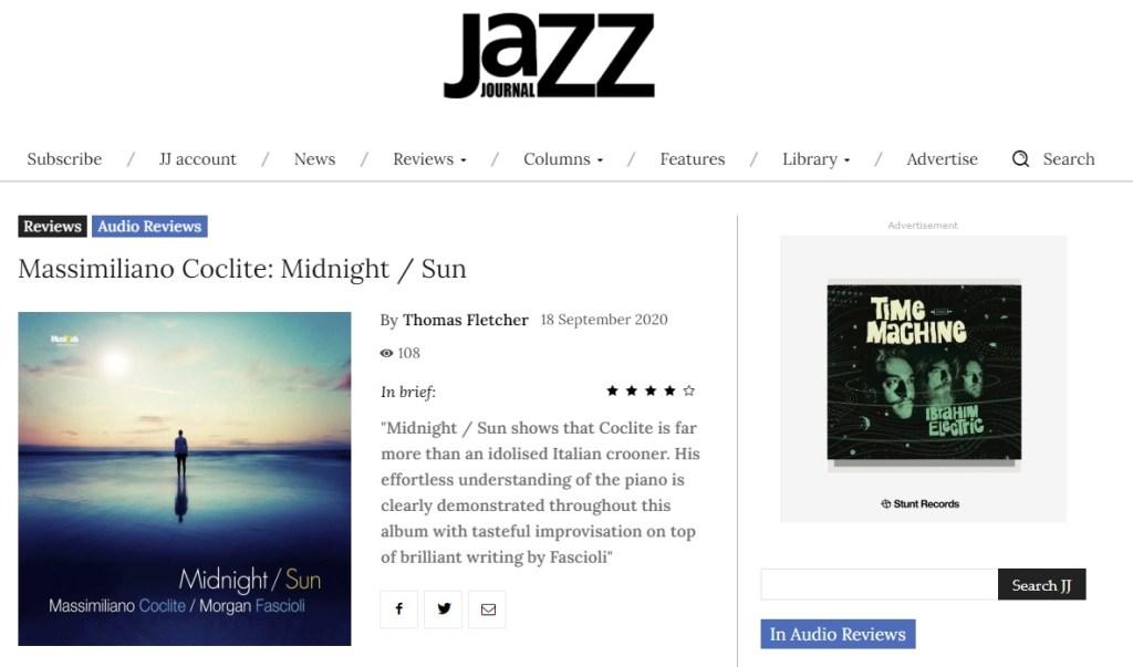 Midnight Sun incoronato da Jazz journal, lo screenshot dell'articolo