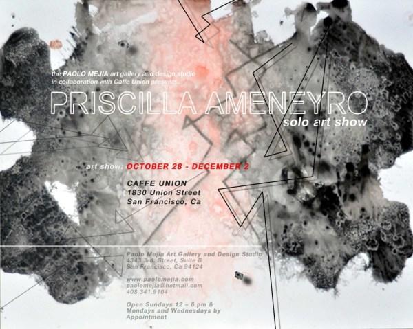 Priscilla Ameneyro Solo Art Show Flyer Paolo Mejia & Design Studio
