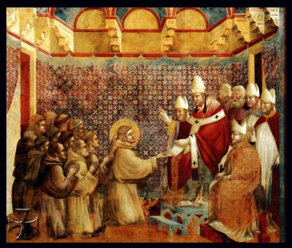 Onofrio III approva la Regola di San Francesco (Giotto,  Basilica Superiore,  Assisi).