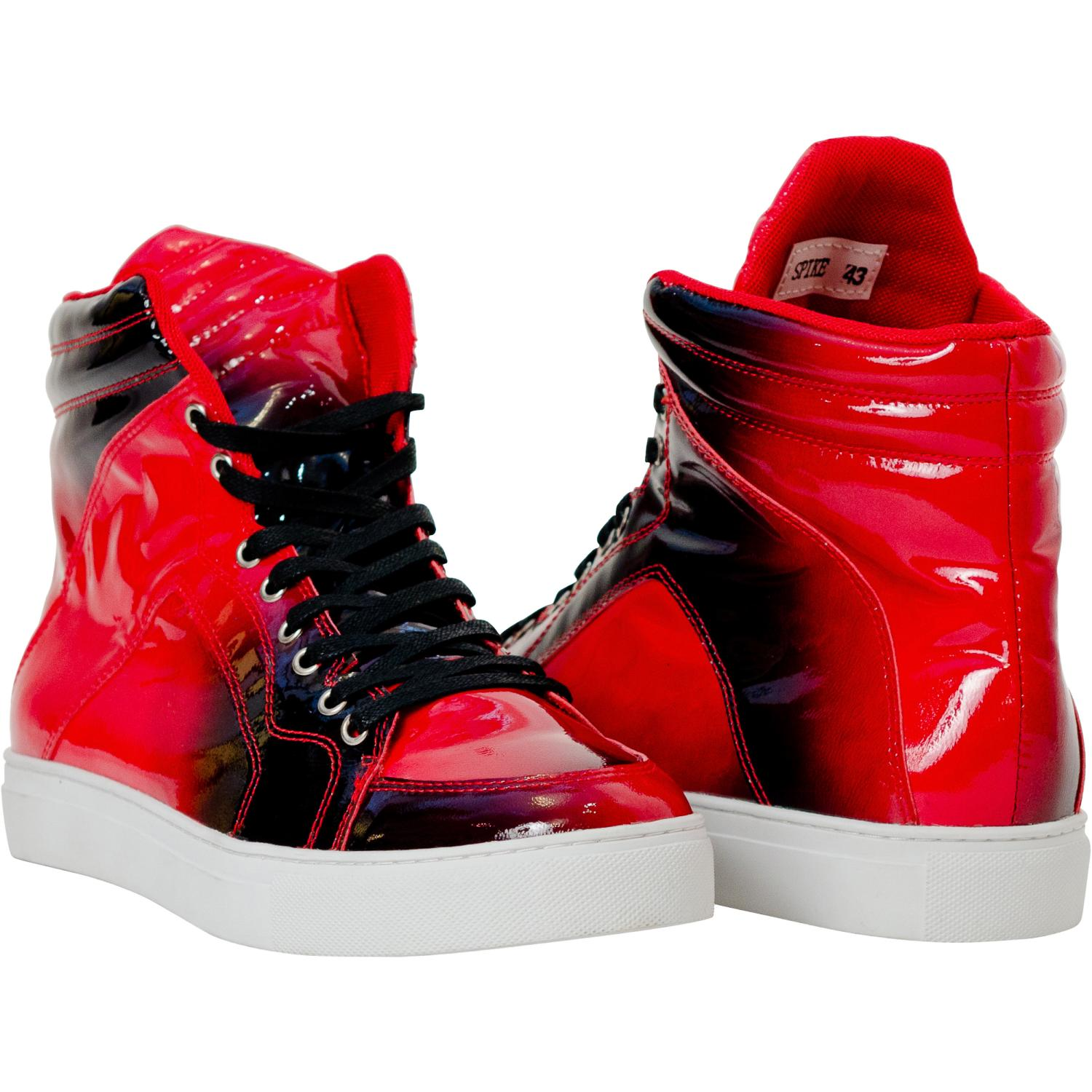 Spike Fire Red Patent Leather High Top Sneakers  Paolo Shoes